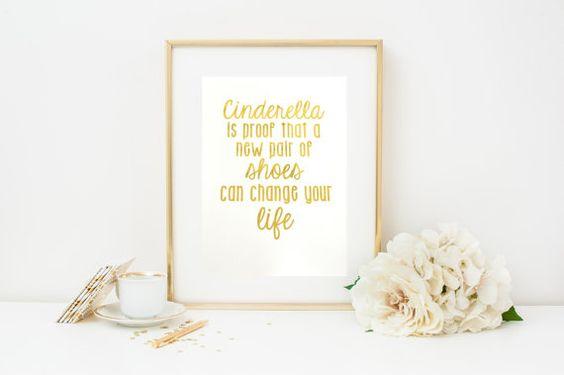 Blattgold-Print ist Cinderella Beweis, neue Schuhe-Print, Blattgold Kindergarten Print, 8 x 10, Kinderzimmer Dekoration, inspirierende Print, Print zitieren