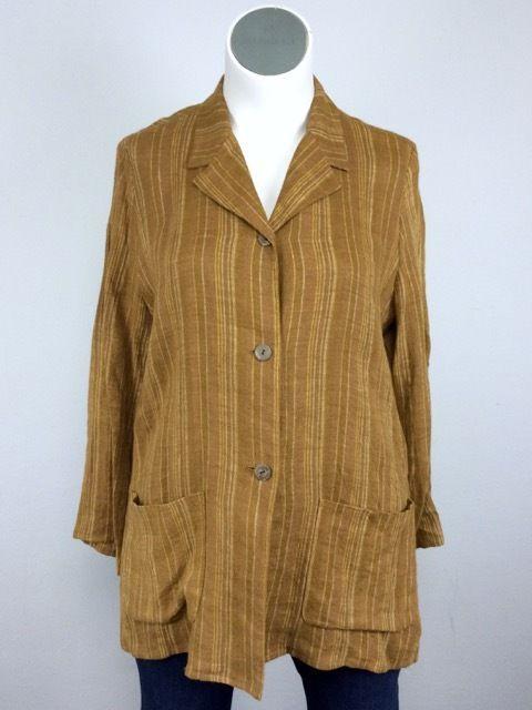 Barneys New York XL/XXL Brown & Gold Stripe Linen Shirt Jacket Plus 16/18…