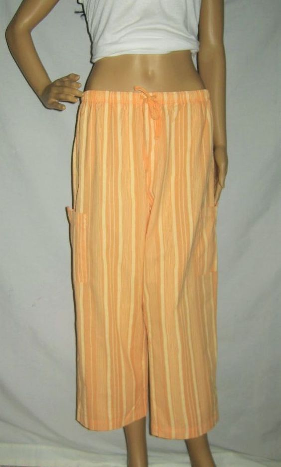 NEW Fresh Produce Cabana Sun Kissed Orange Stripe Sheeting Capri Cargo Pants M…