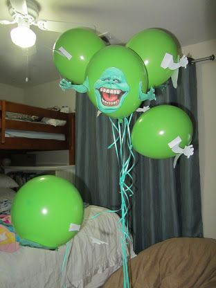 Ghostbuster Party Make Slimers print out faces and arms, tape to balloons!