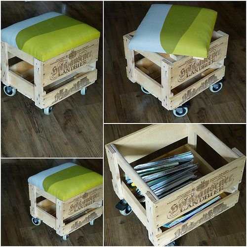 Hocker aus Bierkiste, Regal und Vorhang / Stool made of beer crate, shelf and curtain / Upcycling