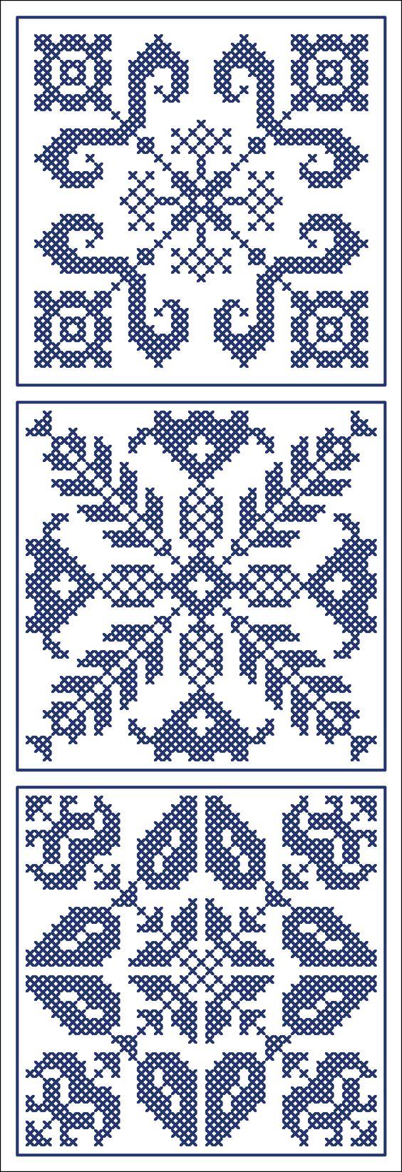 Three blue tiles | Chart for cross stitch of filet crochet.: