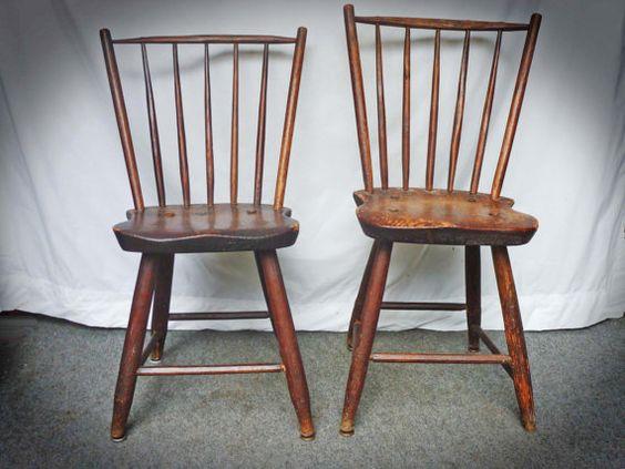 Pair Antique Primitive WINDSOR CHAIRS - c1800 Rod Backs | Windsor F.C.,  Primitives and Country primitive - Pair Antique Primitive WINDSOR CHAIRS - C1800 Rod Backs Windsor