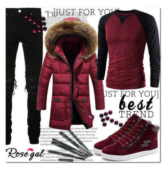"""""""ROSEGAL"""" by miralemaa ❤ liked on Polyvore featuring AMIRI, Balmain, men's fashion, menswear and rosegal"""
