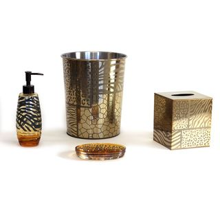 Sherry Kline Safari Brown Gold Bath Accessory 4-piece Set | Overstock™ Shopping - The Best Prices on Sherry Kline Bathroom Accessory Sets