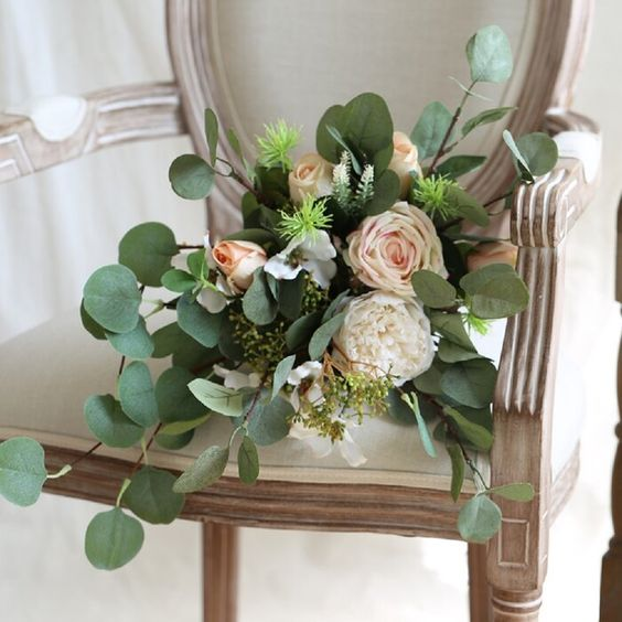 Le Prise Wedding Rose in Eucalyptus Bridal Mixed Floral Arrangement | Wayfair