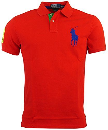 Polo Ralph Lauren Mens Custom Fit Big Pony Mesh Polo Shirt - M - Red Polo