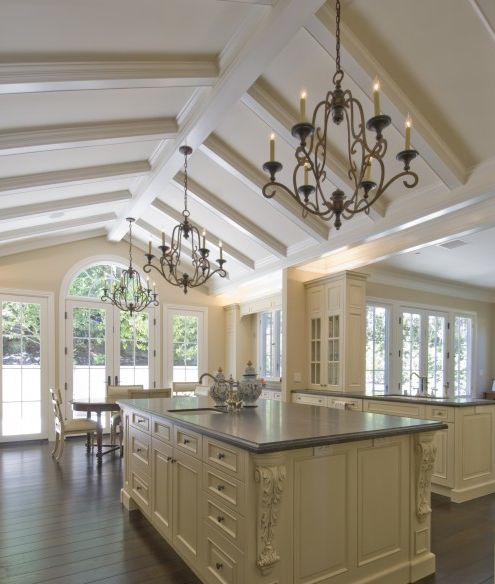 Vaulted ceiling with box beams kitchen ideas pinterest for Vaulted ceiling kitchen designs