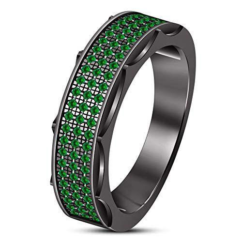 Green Emerald Engagement Pinky Band Men/'s Wedding Ring 10K Black Gold Finish 925 Silver