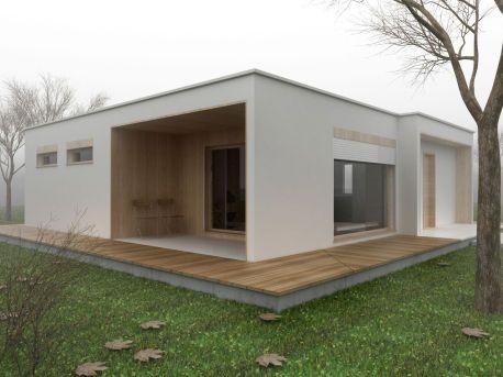 Vynikající Malé Montované domy Architektura Exotic dřevěnou terasu s bílou barvu Exteriér
