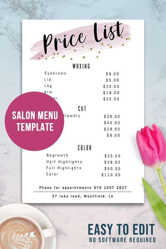 Pink Price List Template Editable Beauty Salon Pricing List Printable Price Guide Salon Menu Salon Menu Price List Template List Template