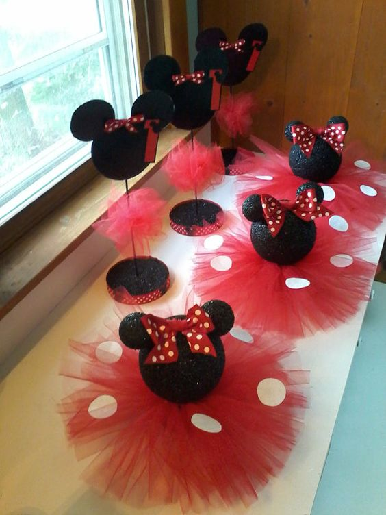 Set of 8 black glittery minnie mouse table centerpiece for Baby minnie mouse party decoration