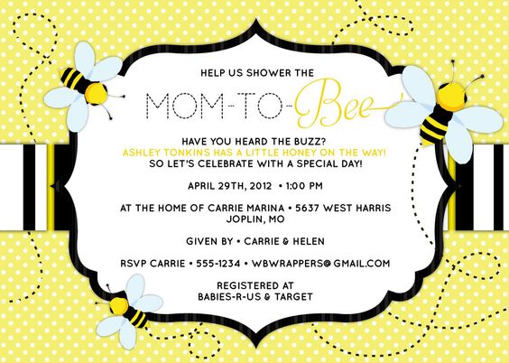bee baby shower invitation mom to bee bee themed baby s