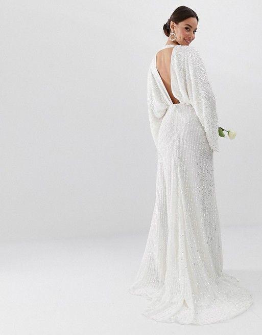 Asos Edition Sequin Kimono Sleeve Wedding Dress Asos Asos Wedding Dress Cheap Wedding Dress Affordable Wedding Dresses