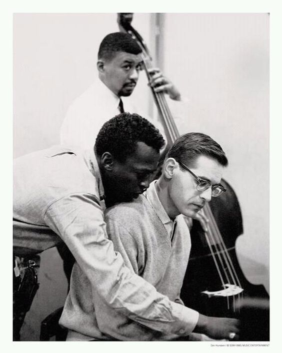 Miles Davis, Bill Evans & Paul Chambers -  photo taken during the recording sessions of Kind of Blue