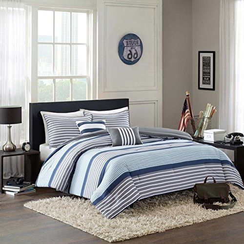 D H 4 Piece Boys Navy Blue White Grey Stripes Comforter Twin Twin Xl Set Horizontal Gray Striped Bedding Rugby Stripe Sports Themed Nautical Pattern Modern Lin