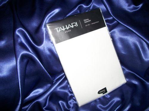 TAHARI HERRINGBONE WEAVE WHITE OBLONG 60 x 104 TABLECLOTH NIP