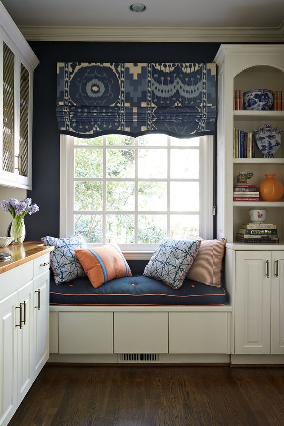Fantastic fabric on the roman shade and love the shape at the bottom of the shade! Window seat - Lindsey Coral Harper