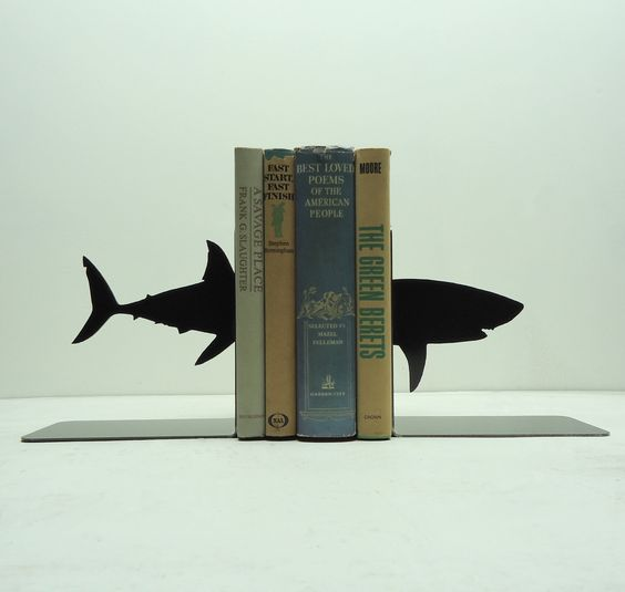 Shark Metal Art Bookends - Free USA Shipping. $44.99, via Etsy.