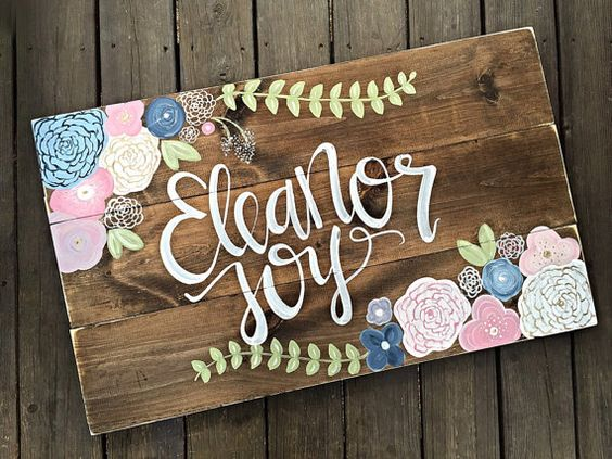 This listing is for a LARGE hand painted wood sign. Dimensions: 24 tall by 36 wide  Details: White script style lettering and hand painted