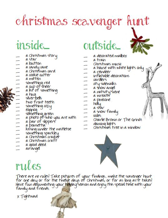 Christmas scavenger hunt fun way to hang out with your for Outdoor christmas activities for adults