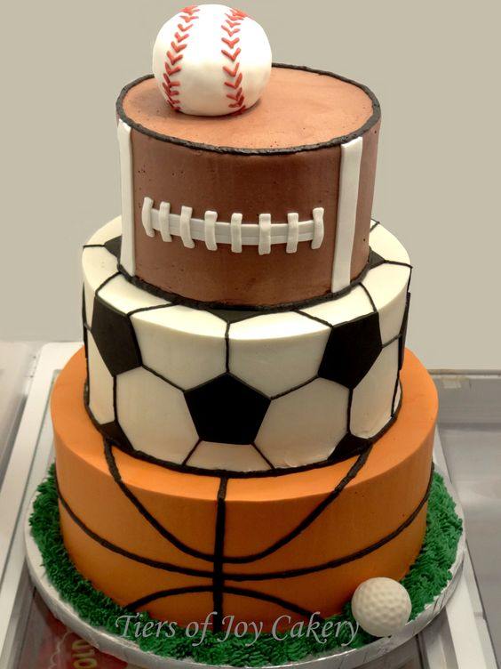 Cake Arch Balloon Design : Sports balls cake with baseball, football, soccer ball ...