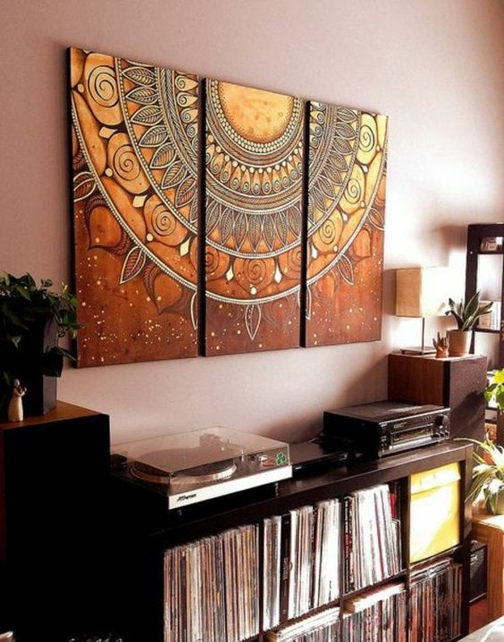 mandala holz ausmalen leinwand bunt diy kreativ pinterest mandalas. Black Bedroom Furniture Sets. Home Design Ideas