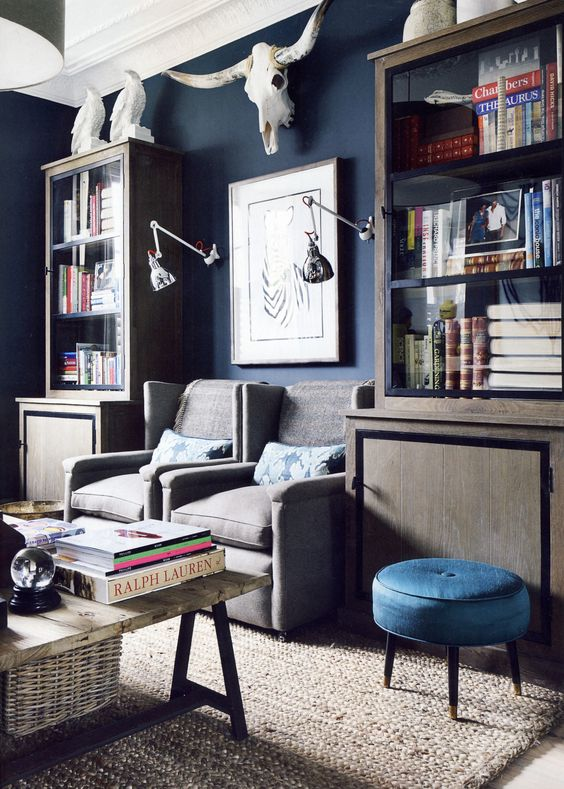 Navy navy blue and study on pinterest for Living room navy walls
