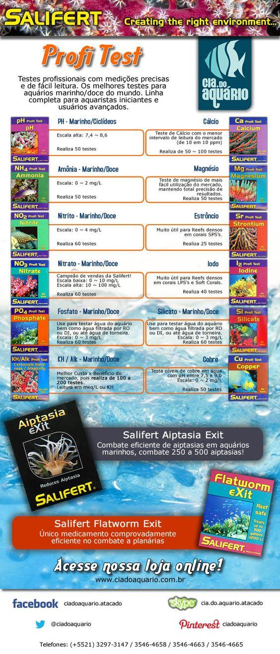 Descrição de toda a linha de produtos Salifert, incluindo os testes para aquários de água doce e marinhos, além das soluções de combate a planárias e aiptasias.