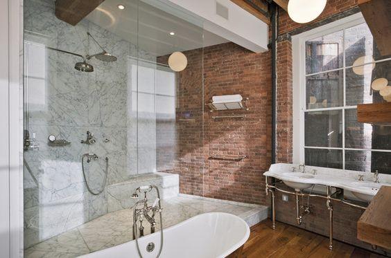 vintage hardwood and bricks | ... hardwood floors, wood floors in bathroom, marble shower surround