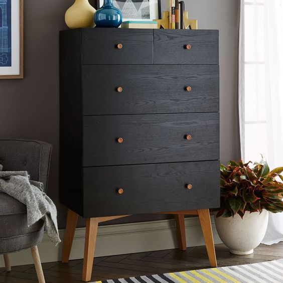 Tall Storage 5-Drawer Dresser - Black   west elm