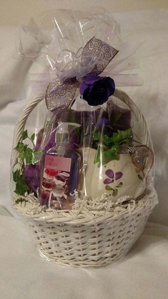 Purple gift basket for someone special, with lotions and bath towel $21.50