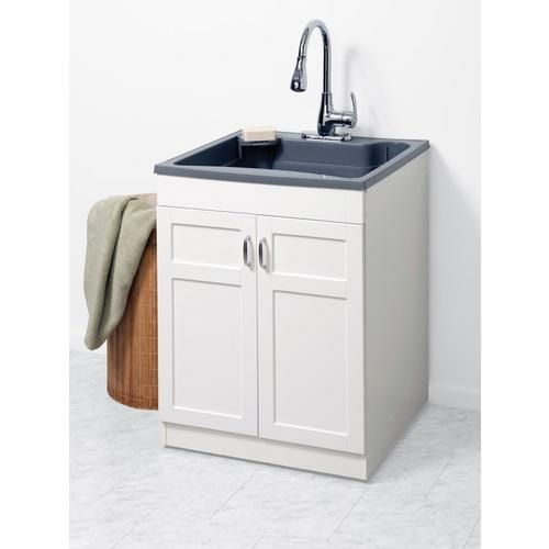 Zenna Home 24 In X 24 25 In 1 Basin Gray Freestanding Polypropylene Utility Laundry Tubs Laundry Room Storage Shelves Basement Laundry Room Makeover