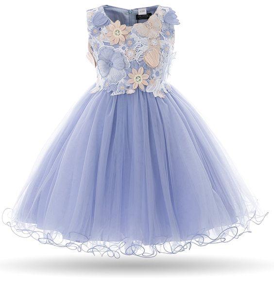 Amazon.com: Cielarko Girls Dress Kids Flower Lace Party Wedding Dresses (6-7 years, Blue): Clothing