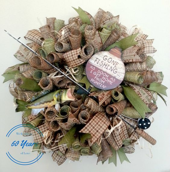 Deco Mesh Fishing Wreath with Fish and Fishing Pole, Fishing Wreath, Father's Day Gift, Gone Fishing Sign, Man's Wreath, Burlap Wreath by 60YearsOfLove on Etsy