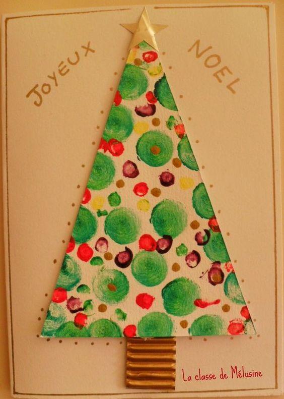 christmas cards sapin en peinture