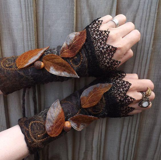 Midnight Forest Cuffs -Steampunk Fairy Cuffs - Vintage lace cuffs -Black Cuffs - Dark Fae Cuffs -