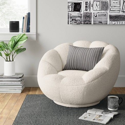 Low Profile Round Swivel Chair Cream Sherpa Room Essentials White Bedroom Chair Room Decor Bedroom Room Ideas Bedroom