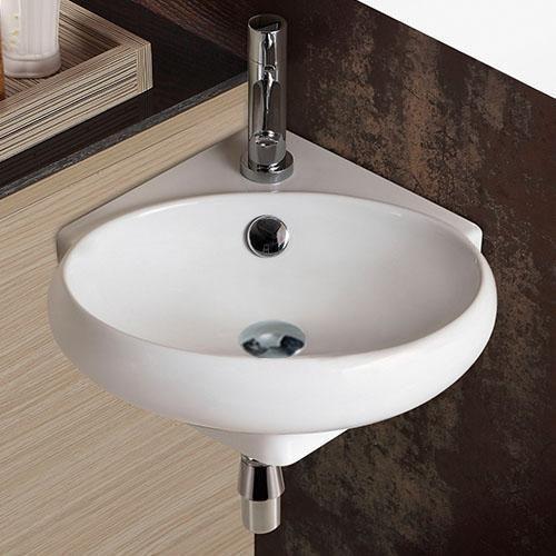 Junet Vitreous China Corner Wall Mount Bathroom Sink Wallmountbathroomsink Wall Mounted Sink Wall Mounted Bathroom Sinks Bathroom Sink