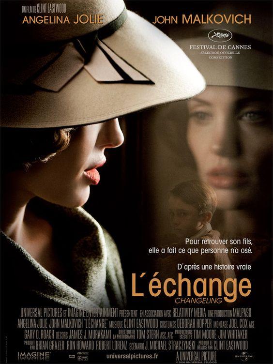 L'Echange est un film de Clint Eastwood avec Angelina Jolie, John Malkovich. Synopsis : Los Angeles, 1928. Un matin, Christine dit au revoir à son fils Walter et part au travail. Quand elle rentre à la maison, celui-ci a disparu. Une rech