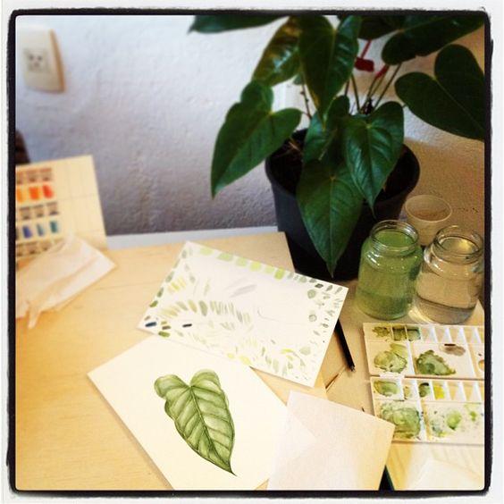 leaf study by @marinabarbato #botanicalpainting #folha #leaf #mywork #ilustracaobotanica #botanicalillustration #marinabarbato #watercolor #aquarela
