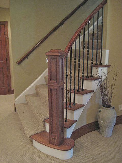 Basement Stair Trim: Stairway Wood Trim With White Skirt