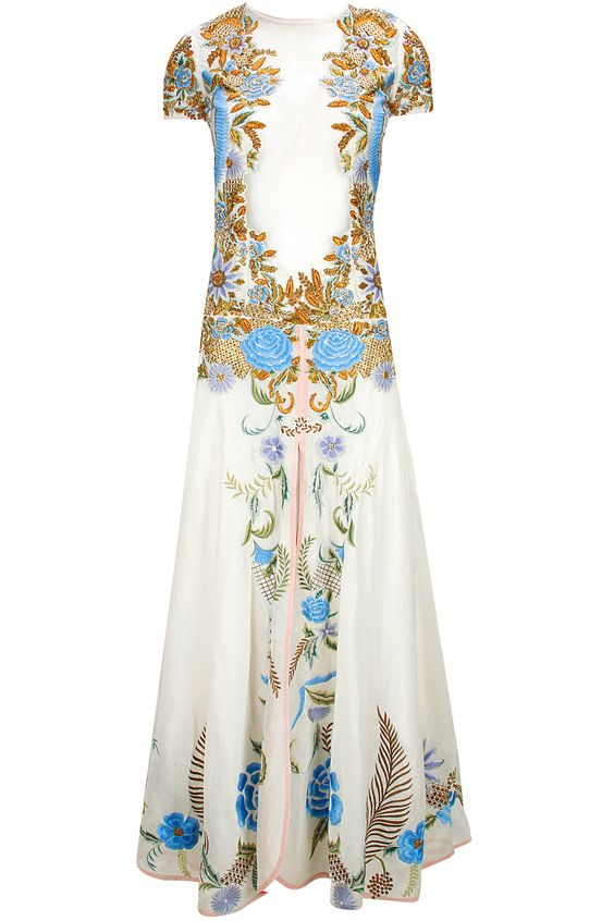 White thread and zari floral embroidered gown available only at Pernia's Pop-Up…