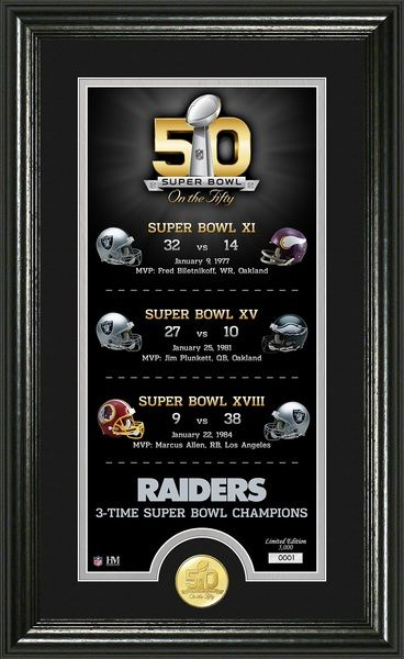 Oakland Raiders Super Bowl 50th Anniversary Bronze Coin Photo Mint celebrating their 3 Super Bowl wins matted and framed