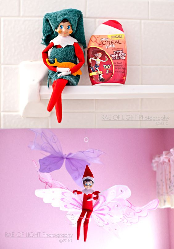 Love the idea of the christmas elf never heard of this for Elf on the shelf bathroom ideas