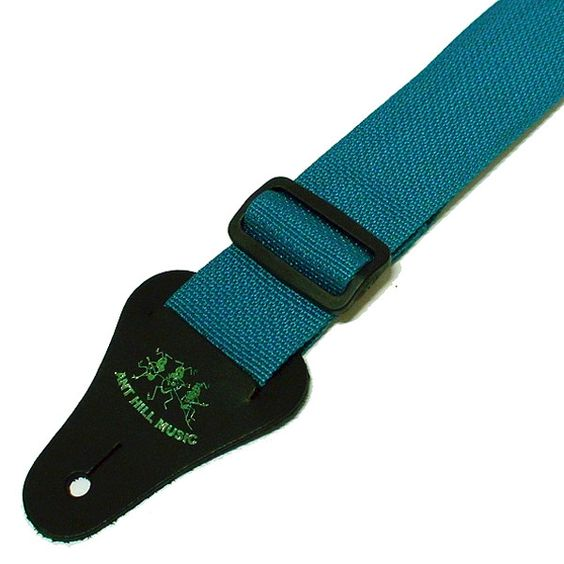 Ant Hill Music Guitar Strap Adjustable Nylon Turquoise/Leather Made in the USA