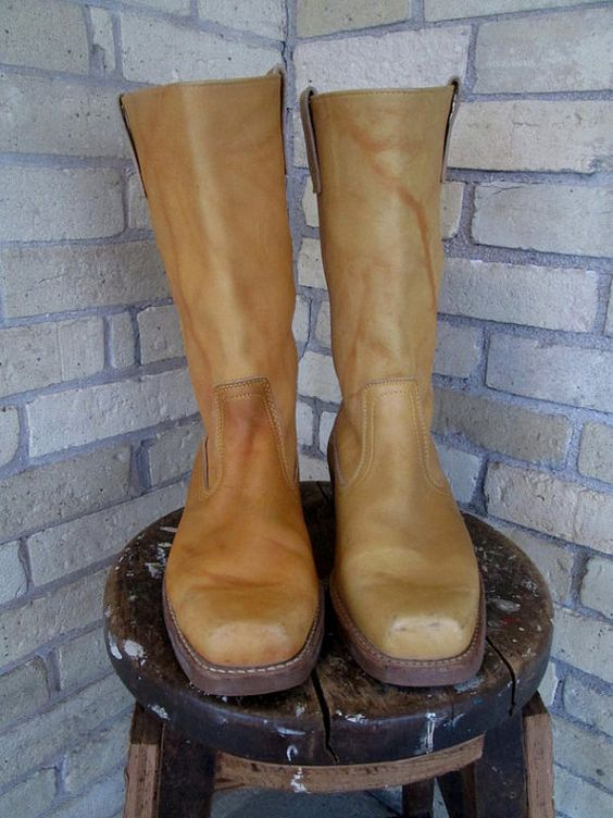 Vintage Tan Leather Engineer Boots Men's by CherryDelightVintage