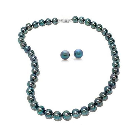 Allurez Black Freshwater Pearl Necklace & Stud Earring Set 14k  Gold... ($270) ❤ liked on Polyvore featuring jewelry, necklaces, white, gold necklace set, yellow gold necklace, 14 karat gold necklace, 14k necklace and freshwater pearl necklace