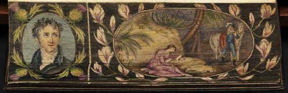Fore-edge painting on the edge of a book: