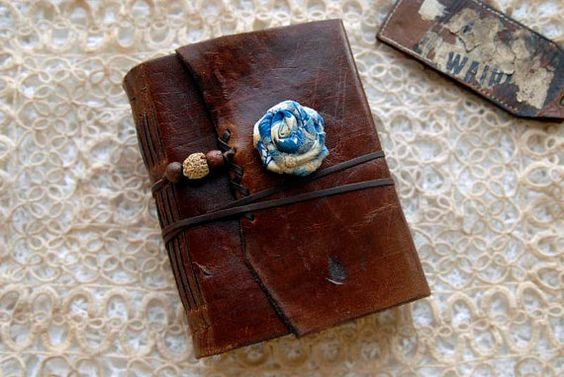 Blue Rose  Distressed Leather Journal Chestnut by bibliographica, $115.00